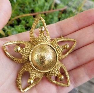 Vintage Signed Brass Starfish Pin